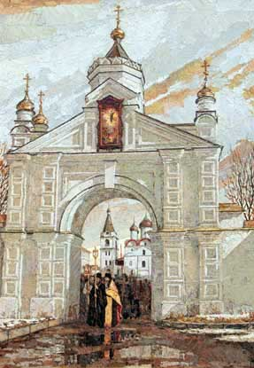Арка Печёрского монастыря. Крестный ход.