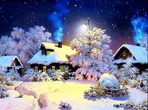 Морозный день в деревне